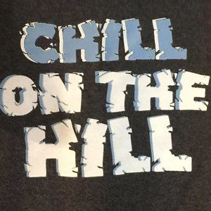 Chill on the Hill, S/S tee, charcoal grey, NWT